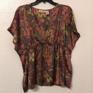 DKNY jeans petite silk blouse top floral